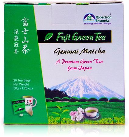 Robertson Shizuoka Japanese Genmai Matcha Fuji Green Tea, Nutty (20 Pyramid tea bags)