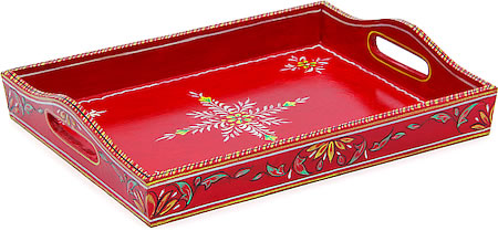 Kaushalam Hand-Painted Wooden Tray, Large - Red