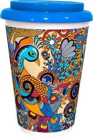 Kolorobia Graceful Peacock Colorful Cafe Mug