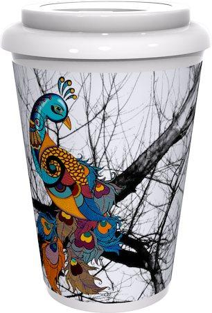 Kolorobia Peacock White Cafe Mug