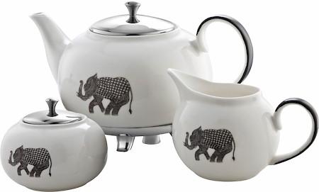 Arttdinox Heritage White Ceramic Tea Set