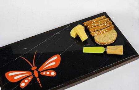 Amalgam Hand-carved Daring Dragonfly Motif Stone Platter - Orange & Black