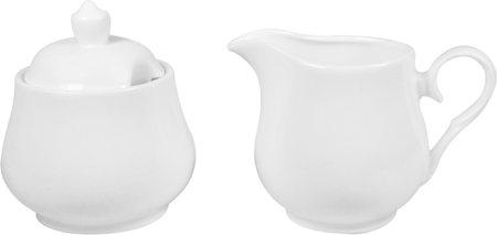 Wilmax ENGLAND Fine Porcelain Sugar Bowl and Creamer Set (White) - 2 pcs, WL995024
