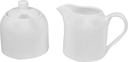 Wilmax ENGLAND Fine Porcelain Sugar Bowl and Creamer Set (White) - 2 pcs, WL995023