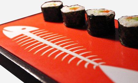 Amalgam Hand-carved Sushi Patern Motif Stone Platter - Orange & White