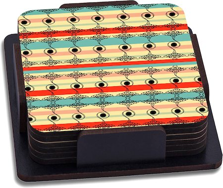 ThinNFat Folk Abstract Geometric Printed Coasters - set of 6