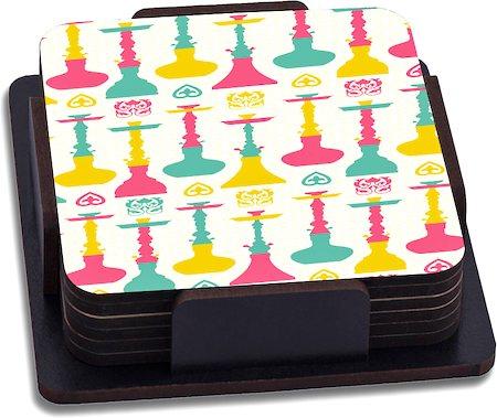 ThinNFat Hukka Bar Printed Coasters - set of 6
