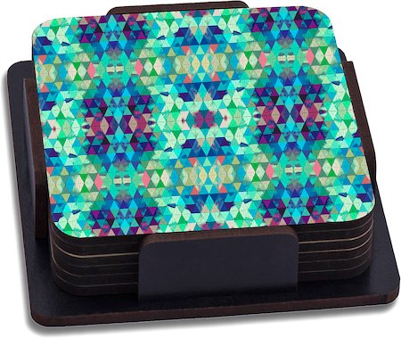 ThinNFat Crystal Kaleidoscope Printed Coasters - set of 6