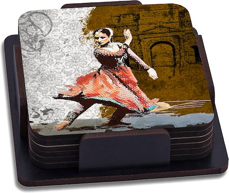 ThinNFat Bharat Natiyam Printed Coasters - set of 6