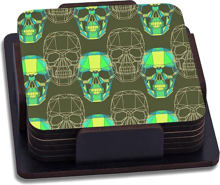 ThinNFat Wireframe Skull Printed Coasters - set of 6