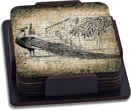 ThinNFat Black Peacock Printed Coasters - set of 6