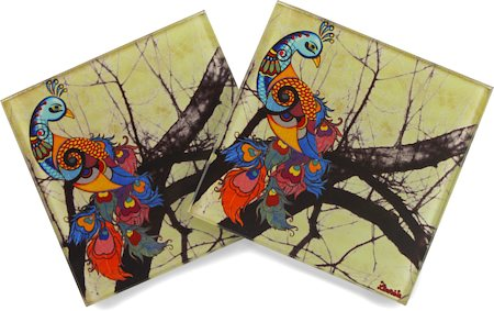 Kolorobia Beautiful Peacock Glass coasters - set of 4