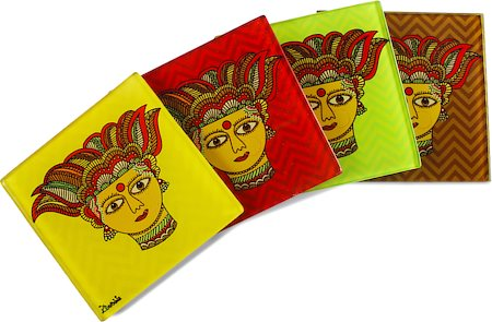 Kolorobia Traditional Madhubani Wooden Coasters - set of 4