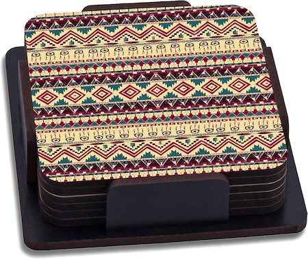ThinNFat Brown Feather Tribal Printed Coasters - set of 6