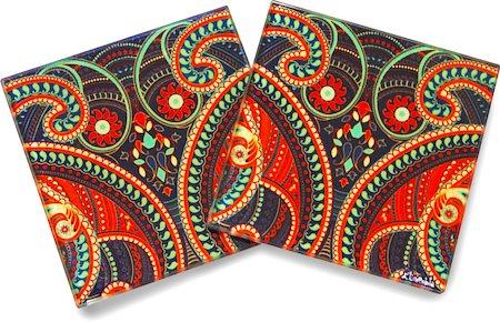 Kolorobia Illuminating Paisley Wooden Coasters - set of 4