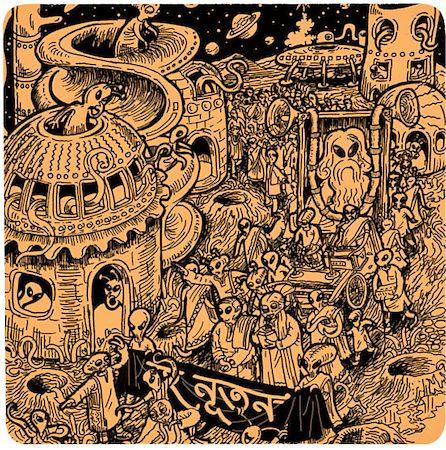 Posterboy Charbak Alien Ponchishey Boishakh Coasters - set of 4