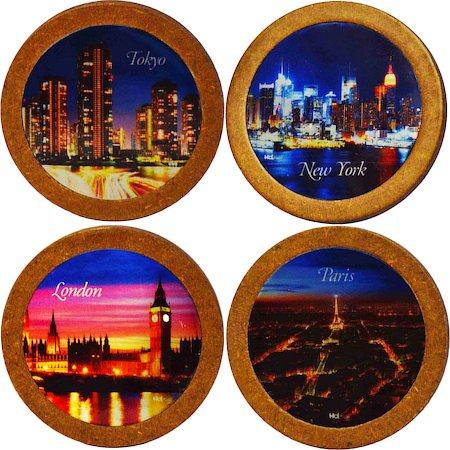 Hot Muggs Citylights Coasters - set of 4