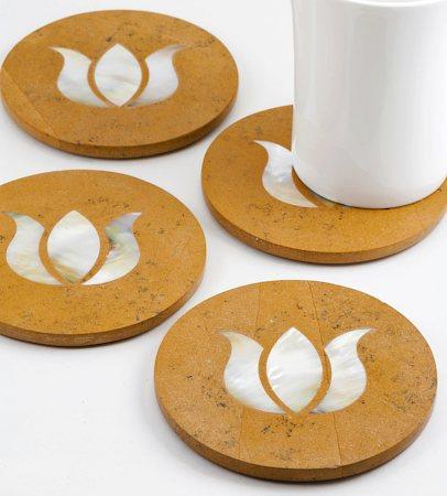 Amalgam Hand-carved Pure and Precious Lotus Motif Stone Round Coasters - set of 4