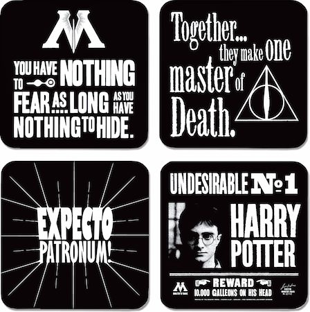 Warner Brothers Harry Potter Undesireable No. 1 Coasters - set of 4