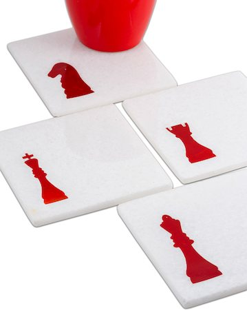 Amalgam Hand-crafted Cheeky Chess Player White Marble Coasters - set of 4