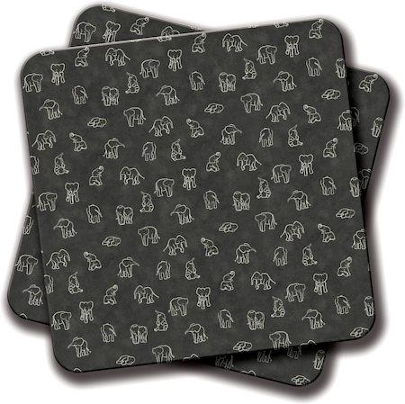Amey Indian Baby Elephants Blackout Coasters - set of 2