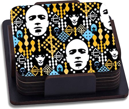 ThinNFat Electronic Pattern Printed Coasters - set of 6