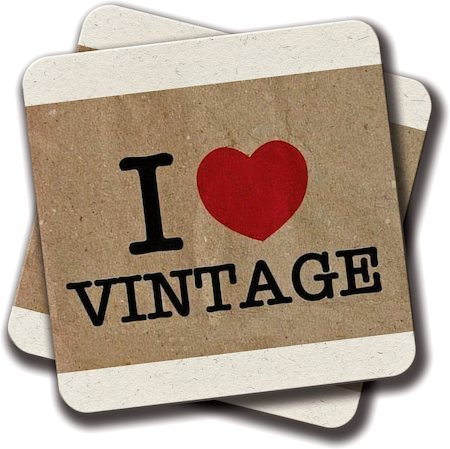 Amey I Love Vintage Coasters - set of 2