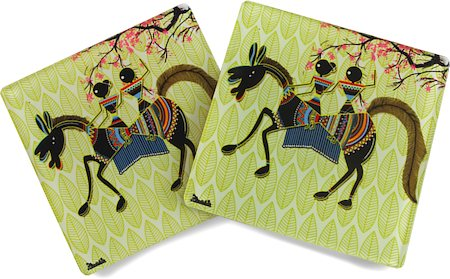 Kolorobia Tribal Warli Wooden Coasters - set of 4