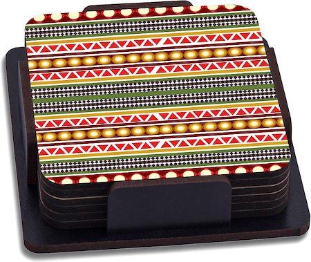 ThinNFat Circle Tribal Printed Coasters - set of 6