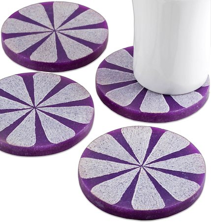 Amalgam Hand-carved Scratched and Scraped Petal Stone Coasters (Purple) - set of 4