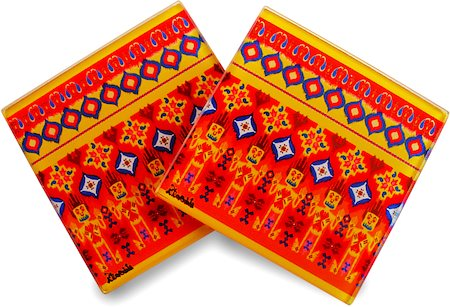Kolorobia Colourful Ikat Glass Coasters - set of 4