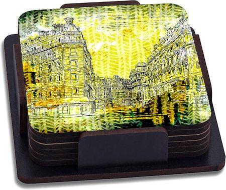 ThinNFat Distort Buildings Printed Coasters - set of 6