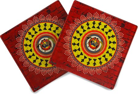 Kolorobia Obsessing Warli Glass Coasters - set of 4