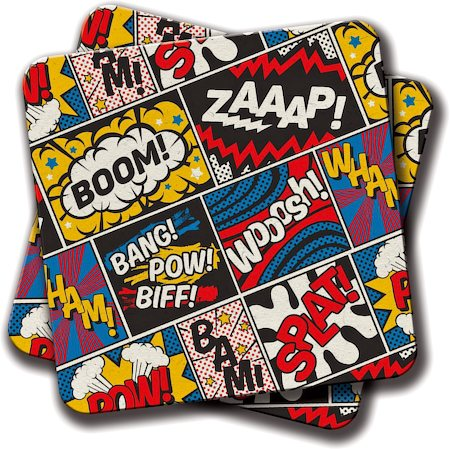 Amey Modern Comic Book Superhero Pattern Coasters - set of 2