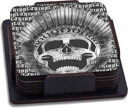 ThinNFat Tribal Feather Skull Printed Coasters - set of 6