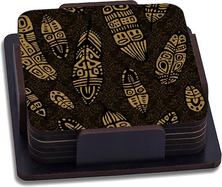 ThinNFat Tribal Feather Printed Coasters - set of 6
