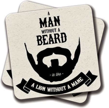 Amey A Man Without a Beard Coasters - set of 2