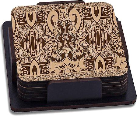 ThinNFat Tikki Design Printed Coasters - set of 6