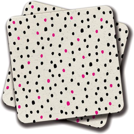 Amey Neon Pink Black Girly Polka Dots Pattern Illustration Coasters - set of 2