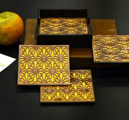 Amalgam Peek-a-Boo Coasters (Yellow) - set of 4
