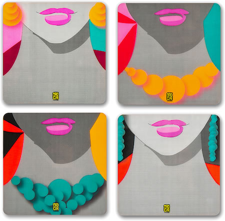 MadCap Glamourous Cork Coasters - set of 4