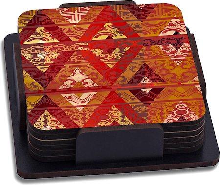 ThinNFat Ethnic Geometric Printed Coasters - set of 6