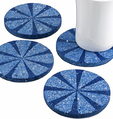 Amalgam Hand-carved Scratched and Scraped Petal Stone Coasters (Blue) - set of 4