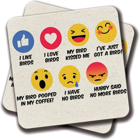 Amey FB Reaction Bird Lovers Coasters - set of 2