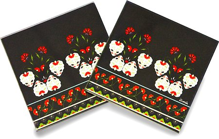 Kolorobia White Flowers Turkish Glass Coasters - set of 4