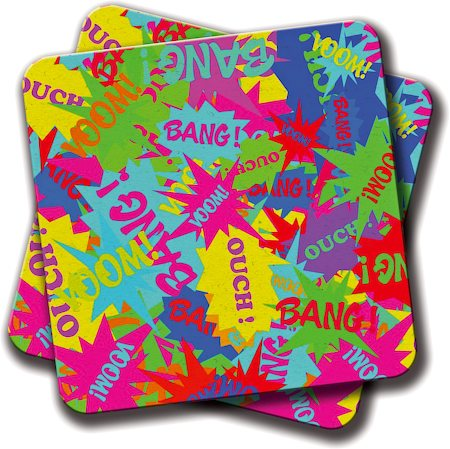 Amey Neon Comics Coasters - set of 2