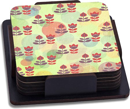 ThinNFat Vintage Paper Flower Printed Coasters - set of 6