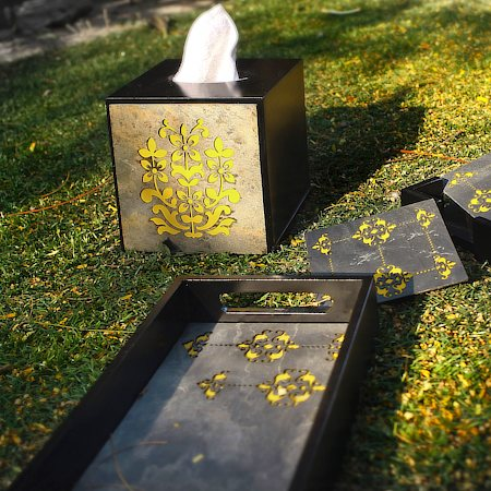 Amalgam The Bloom Rectangular Tray - Yellow