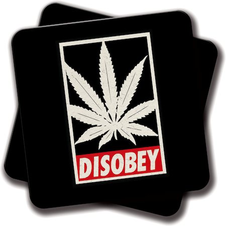 Amey Cannabis Disobey Coasters - set of 2