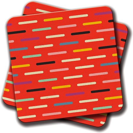 Amey Modern Scandinavian Dash Red Coasters - set of 2